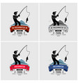 fishing logo design fisherman caught a fish from vector image vector image