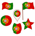 flag of the portugal performed in defferent shapes vector image vector image