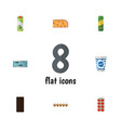 flat icon food set of yogurt tin tuna packet vector image vector image