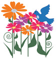 Flower and Bird vector image