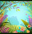 forest or jungle frame magic summer background vector image vector image