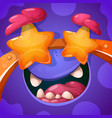 funny cute crazy monster character halloween vector image