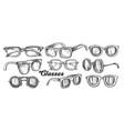 glasses fashion accessory monochrome set vector image vector image