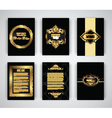 Gold and black brochure and menu templates vector image vector image