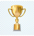 golden trophy cup isolated on transparent vector image vector image