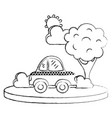 grunge taxi car service in the city with tree vector image vector image