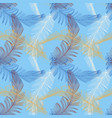 hand drawn feather in trendy color on blue vector image