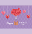 happy valentines day origami hearts balloons vector image