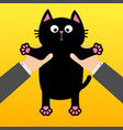 human businessman hand holding black cat funny vector image