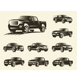 isolated monochrome pickup trucks logo set cars vector image vector image