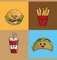 Kawaii set fast food icon adorable expression