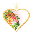 label golden heart with a crown and hibiscus vector image vector image