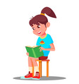little smart girl reading a book at home vector image