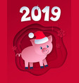 postcard of new year pig vector image vector image