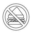 prohibited sandwich fast food icon vector image