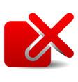 red cross over square delete remove incorrect icon vector image