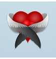 Red heart with wings lovingly hugging vector image