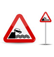 road sign warning departure to embankment in red vector image vector image