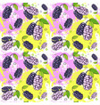 seamless pattern mulberry fruits summer ornament vector image vector image