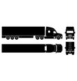 semi trailer truck black icons vector image vector image