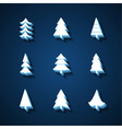 set christmas trees 3d icons vector image vector image