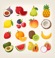 set fruit icons images vector image