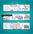 set of doodles horizontal christmas banners vector image