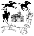 silhouettes and sketches horses jockeys vector image