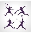 Silhouettes of women professional badminton