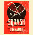 squash tournament typographical grunge poster vector image vector image