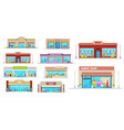 store and shop buildings isolated icons set vector image