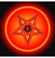 the eye satan in the metal pentagram vector image