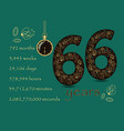 time counting card number 66 and pocket watch vector image vector image