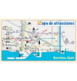 Welcome to Barcelona attractions on map vector image