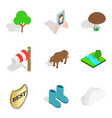 wild animal icons set isometric style vector image vector image