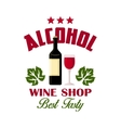 Wine shop sign of bottle and glass icons