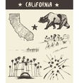 Hand drawn set of California state sketch vector image