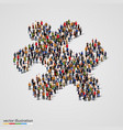 large group of people forming the puzzle shape vector image
