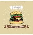 hamburger burger fast food in vector image