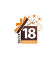 18 years gift box ribbon anniversary vector image vector image