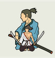 2 samurai composition with swords cartoon graphic vector image