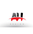 ah a h brush logo letters with red and black vector image vector image