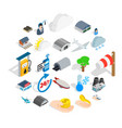 air adventure icons set isometric style vector image
