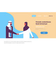 arabic business couple handshaking working vector image vector image