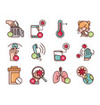 avoid and prevent spread covid19 icons set line vector image vector image