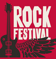 banner for rock festival with guitar and wing vector image vector image