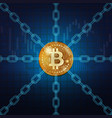 bitcoin golden coin with chains vector image vector image