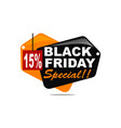 black friday special discount 15 percent vector image vector image
