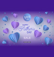 blue and violet heart shapes in paper art and sign vector image vector image