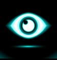 blue neon eye icon lamp sign button light vector image vector image